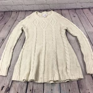 Shrinking Violet Cable Knit Sweater White Size XS